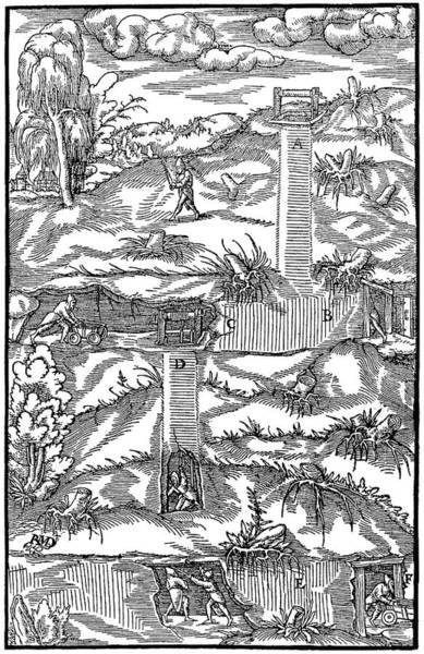 German Renaissance Drawing - Agricola Mine, 1556 by Granger