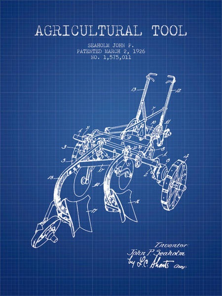 Old Tractor Digital Art - Agricultural Tool Patent From 1926 - Blueprint by Aged Pixel