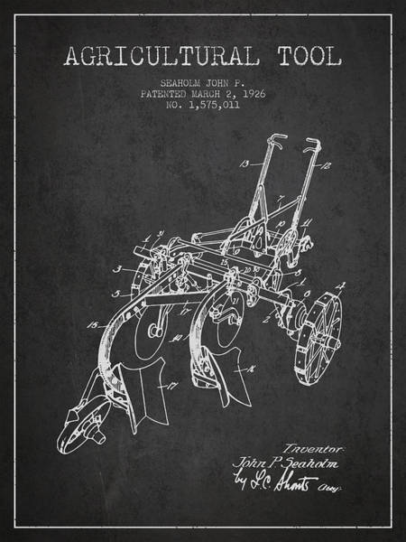 Old Tractor Digital Art - Agricultural Tool Patent From 1926 - Dark by Aged Pixel