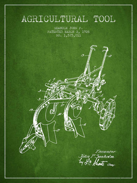Old Tractor Digital Art - Agricultural Tool Patent From 1926 - Green by Aged Pixel