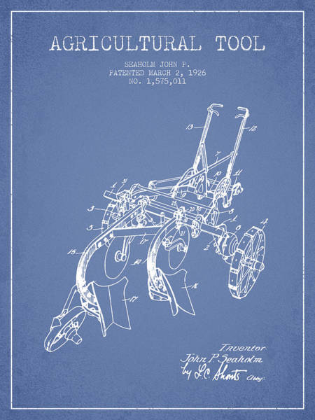 Old Tractor Digital Art - Agricultural Tool Patent From 1926 - Light Blue by Aged Pixel