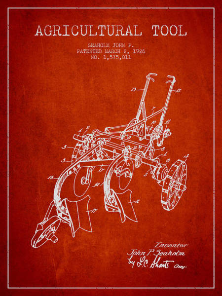 Old Tractor Digital Art - Agricultural Tool Patent From 1926 - Red by Aged Pixel