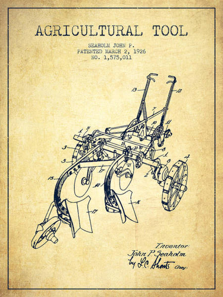 Agriculture Digital Art - Agricultural Tool Patent From 1926 - Vintage by Aged Pixel