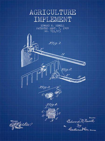 Farming Digital Art - Agriculture Implement Patent From 1909 - Blueprint by Aged Pixel