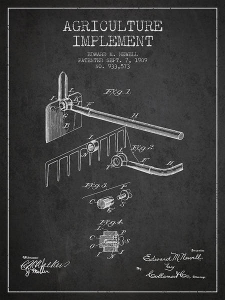 Agriculture Digital Art - Agriculture Implement Patent From 1909 - Dark by Aged Pixel