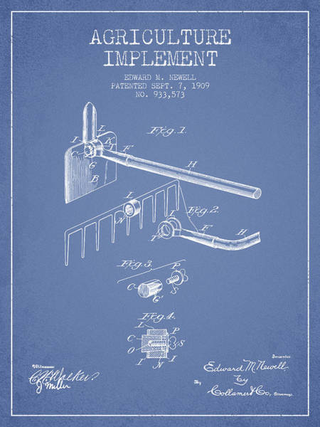 Old Tractor Digital Art - Agriculture Implement Patent From 1909 - Light Blue by Aged Pixel