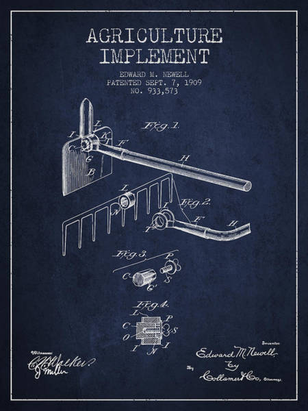 Agriculture Digital Art - Agriculture Implement Patent From 1909 - Navy Blue by Aged Pixel