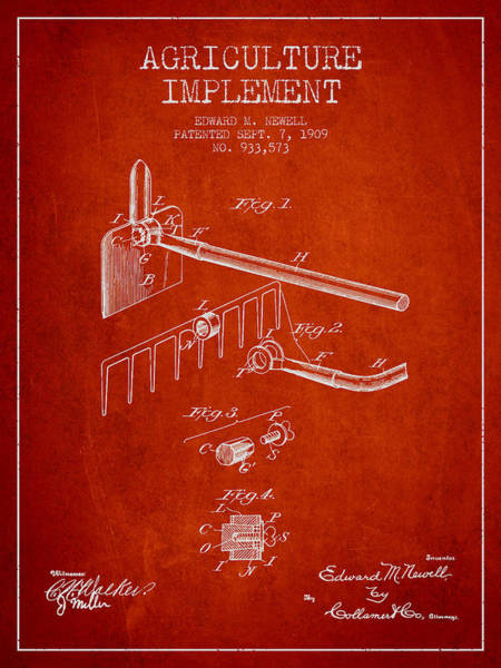 Old Tractor Digital Art - Agriculture Implement Patent From 1909 - Red by Aged Pixel