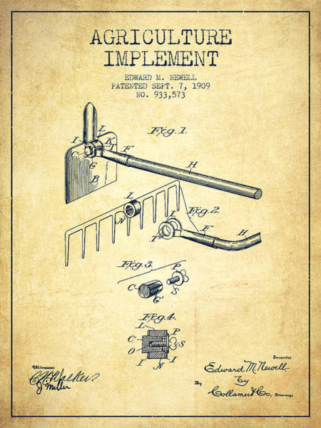 Farming Digital Art - Agriculture Implement Patent From 1909 - Vintage by Aged Pixel