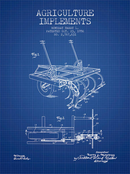Old Tractor Digital Art - Agriculture Implements Patent From 1956 - Blueprint by Aged Pixel