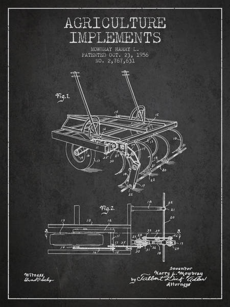 Old Tractor Digital Art - Agriculture Implements Patent From 1956 - Dark by Aged Pixel