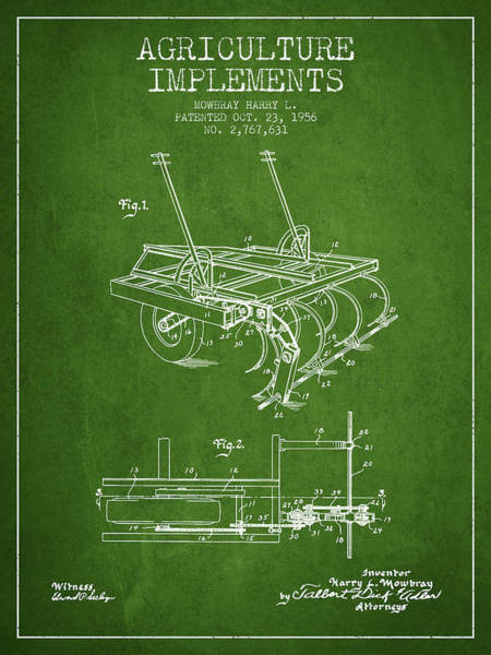 Old Tractor Digital Art - Agriculture Implements Patent From 1956 - Green by Aged Pixel