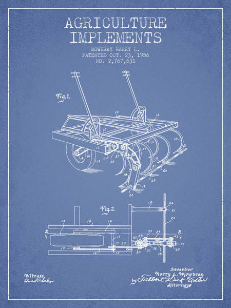 Old Tractor Digital Art - Agriculture Implements Patent From 1956 - Light Blue by Aged Pixel
