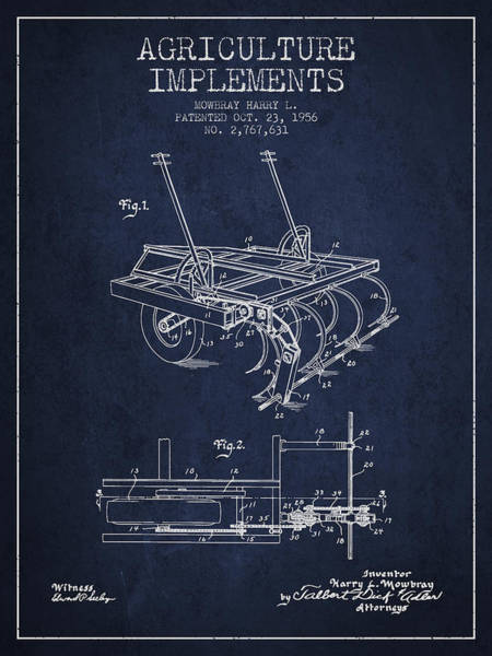Agriculture Digital Art - Agriculture Implements Patent From 1956 - Navy Blue by Aged Pixel