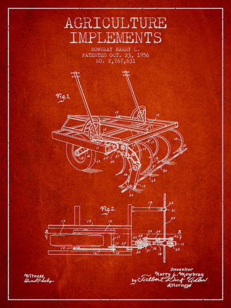 Old Tractor Digital Art - Agriculture Implements Patent From 1956 - Red by Aged Pixel