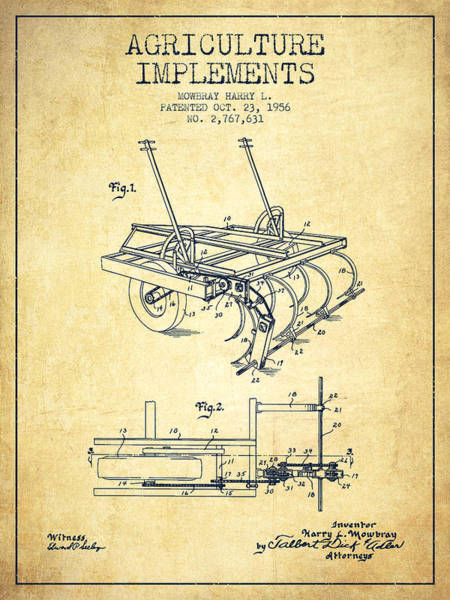 Old Tractor Digital Art - Agriculture Implements Patent From 1956 - Vintage by Aged Pixel