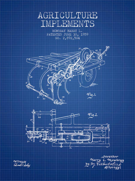 Old Tractor Digital Art - Agriculture Implements Patent From 1959 - Blueprint by Aged Pixel