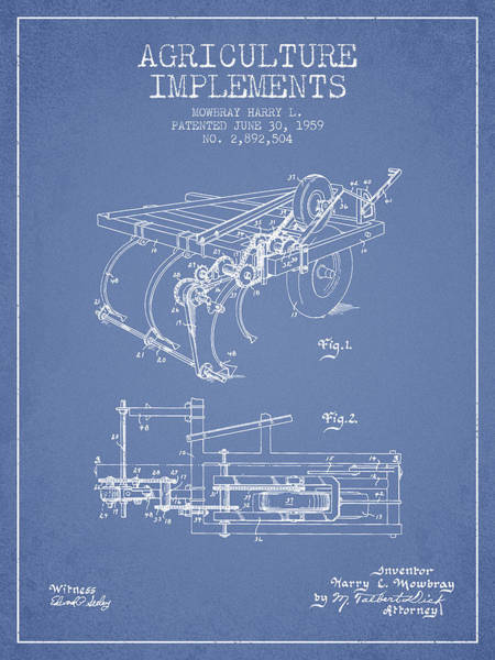 Agriculture Digital Art - Agriculture Implements Patent From 1959 - Light Blue by Aged Pixel