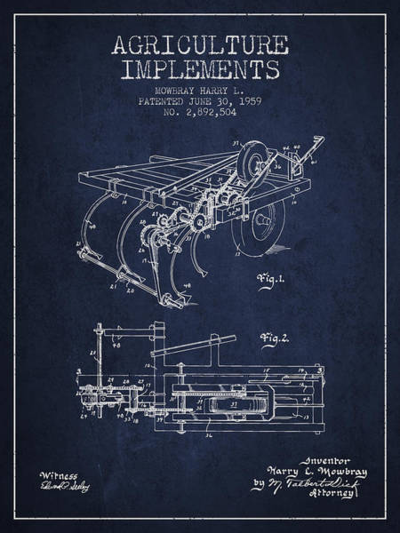 Agriculture Digital Art - Agriculture Implements Patent From 1959 - Navy Blue by Aged Pixel