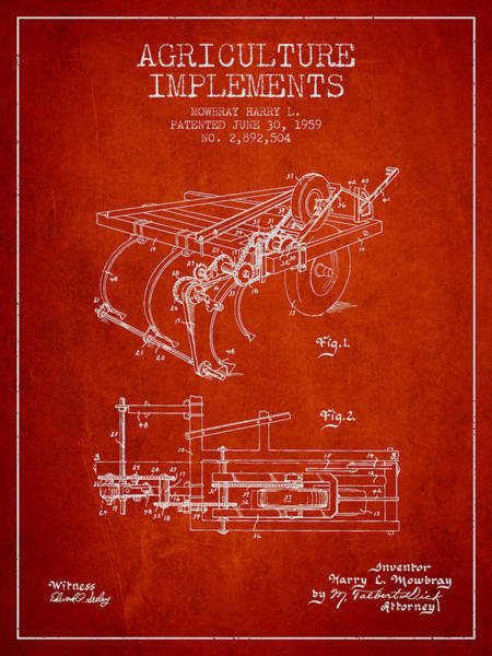 Agriculture Digital Art - Agriculture Implements Patent From 1959 - Red by Aged Pixel