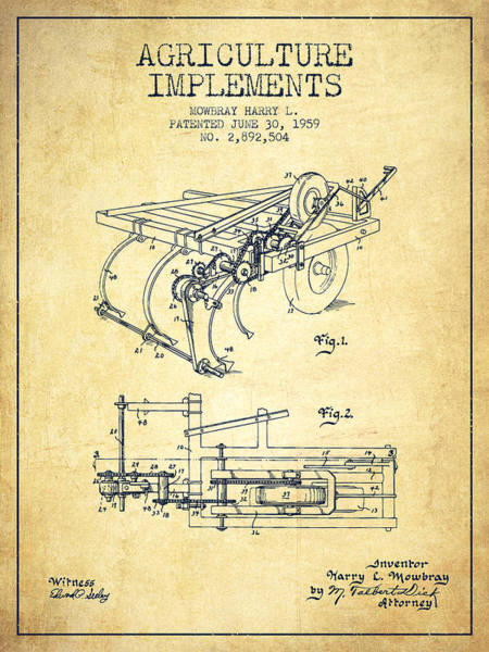 Old Tractor Digital Art - Agriculture Implements Patent From 1959 - Vintage by Aged Pixel