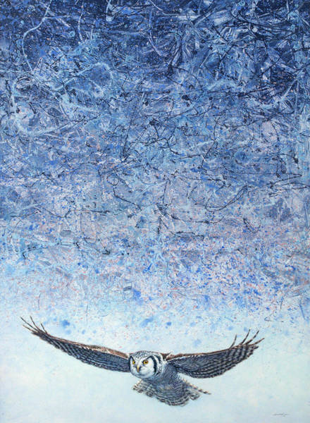 Owl Wall Art - Painting - Ahead Of The Storm by James W Johnson