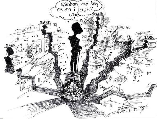 Cartoon Painting - Ahmet Zogu Hijet Mbreterore Ne Tirane  by Ylli Haruni
