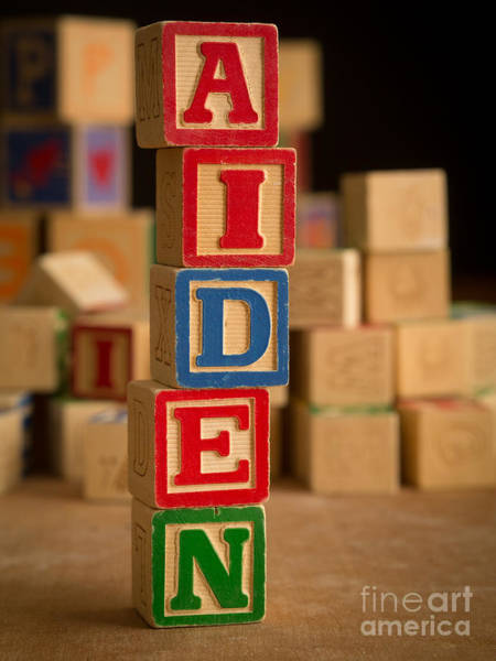 Baby Name Wall Art - Photograph - Aiden - Alphabet Blocks by Edward Fielding
