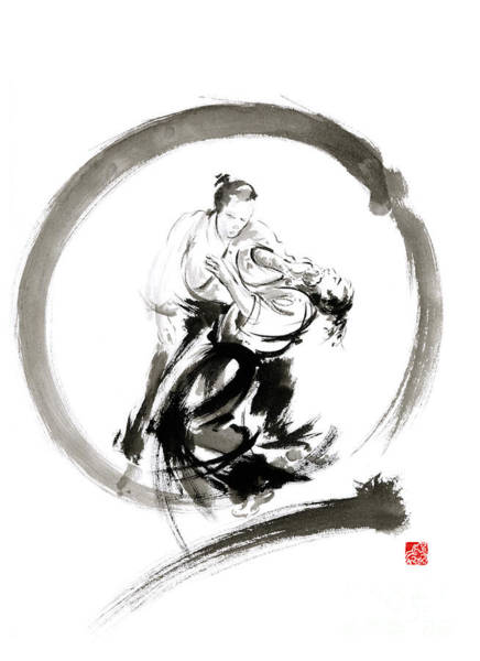Wall Art - Painting - Aikido Enso Circle Martial Arts Sumi-e Samurai Ink Painting Artwork by Mariusz Szmerdt