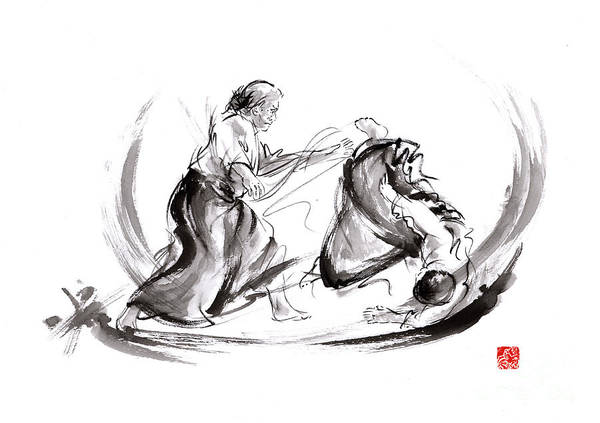 Sumi Wall Art - Painting - Aikido Fight Scenery Martial Arts Drawing Painting Sketch Art Draw Japan Japanese School by Mariusz Szmerdt