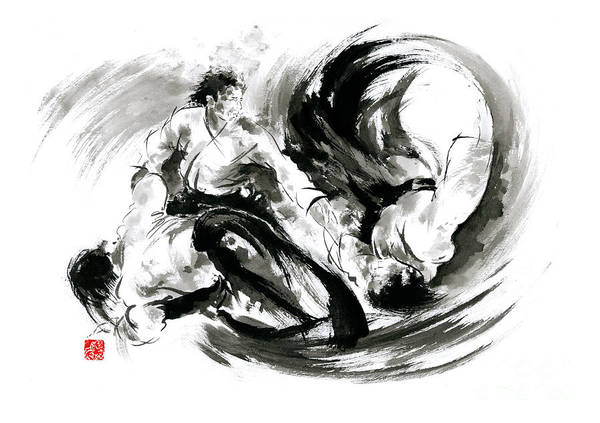 Kimono Painting - Aikido Randori Fight Popular Techniques Martial Arts Sumi-e Samurai Ink Painting Artwork by Mariusz Szmerdt