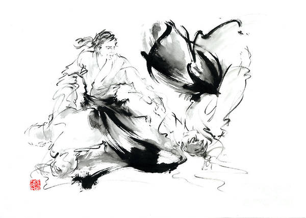 Wall Art - Painting - Aikido Randori Techniques Kimono Martial Arts Sumi-e Samurai Ink Painting Artwork by Mariusz Szmerdt