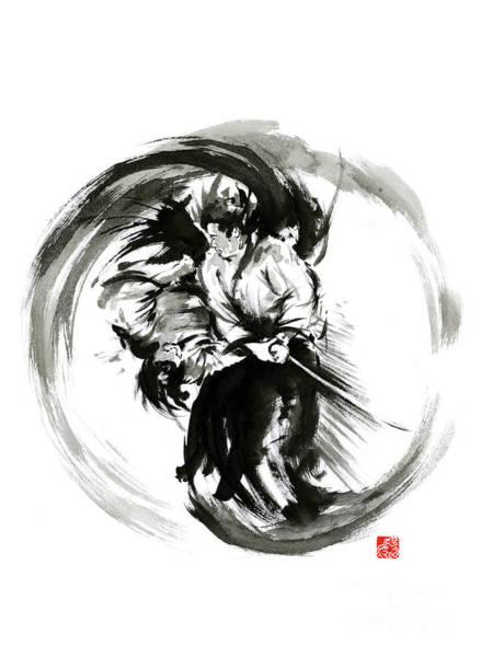 Kimono Painting - Aikido Techniques Martial Arts Sumi-e Black White Round Circle Design Yin Yang Ink Painting Watercol by Mariusz Szmerdt
