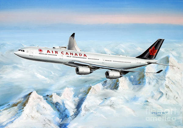In Canada Painting - Air Canada Airbus A340-500  by Greg Bajor