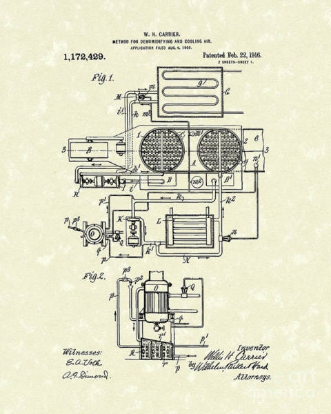 Drawing - Air Conditioner 1916 Patent Art by Prior Art Design