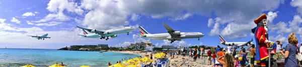 Photograph - Air France Pano Landing At St Maarten by Matt Swinden