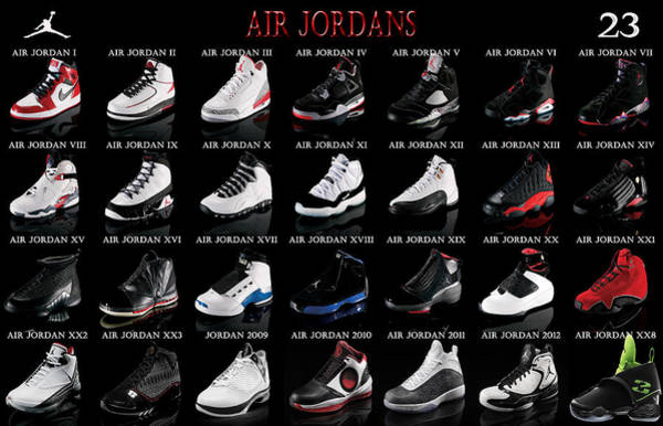 Jordan Wall Art - Digital Art - Air Jordan Shoe Gallery by Brian Reaves