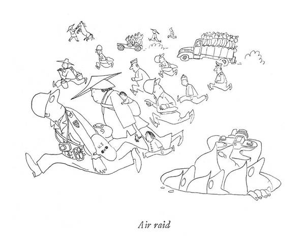 Pilots Drawing - Air Raid by Saul Steinberg