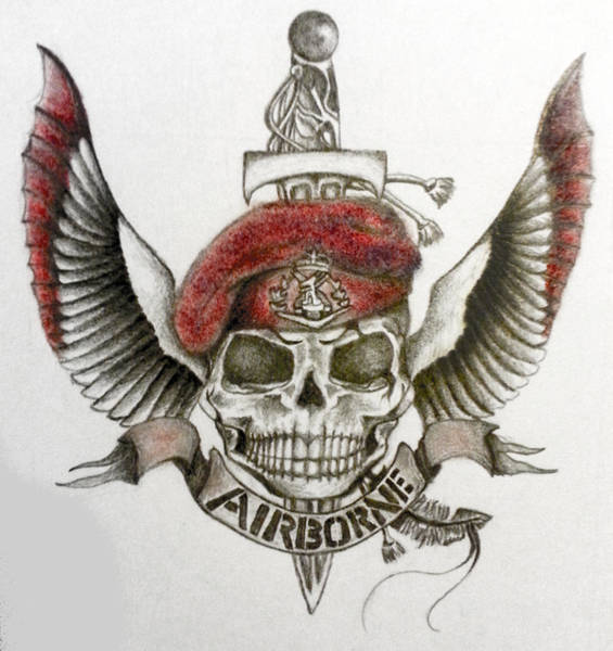 Skippy Wall Art - Drawing - Airborne Skull by Melissa Sink