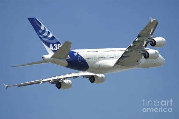 Airbus A380 Wall Art - Photograph - Airbus A380 Prototype In Flight by Riccardo Niccoli