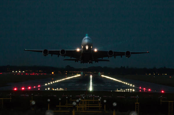 Wall Art - Photograph - Airbus A380 Take-off At Dusk by Tim Beach