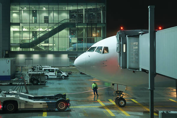 Passenger Car Photograph - Aircraft At The Airport By Night by Ondrej Cech