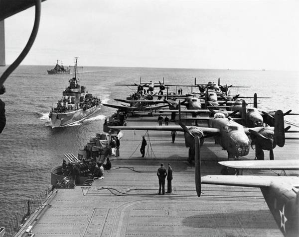 Sea Plane Photograph - Aircraft Carrier Uss Hornet by Us Air Force