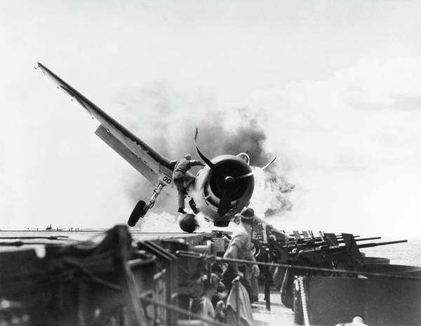 Flight Deck Photograph - Aircraft Crash In World War II by Us Navy/us National Archives/science Photo Library