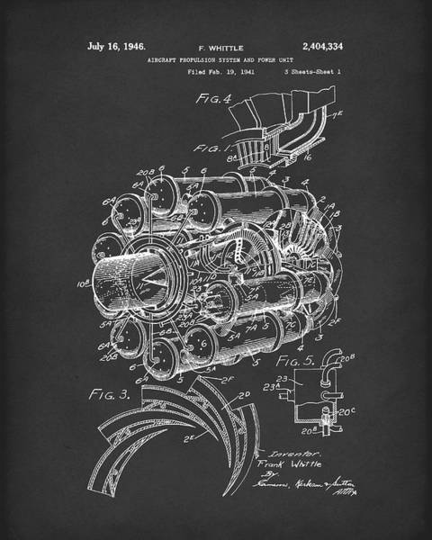 Drawing - Aircraft Propulsion 1946 Patent Art Black by Prior Art Design
