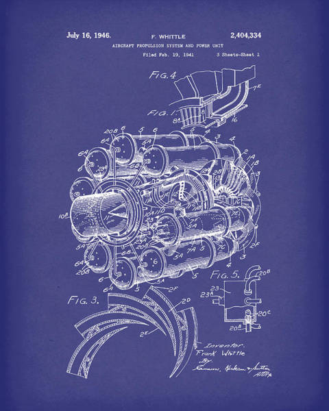 Drawing - Aircraft Propulsion 1946 Patent Art Blue by Prior Art Design