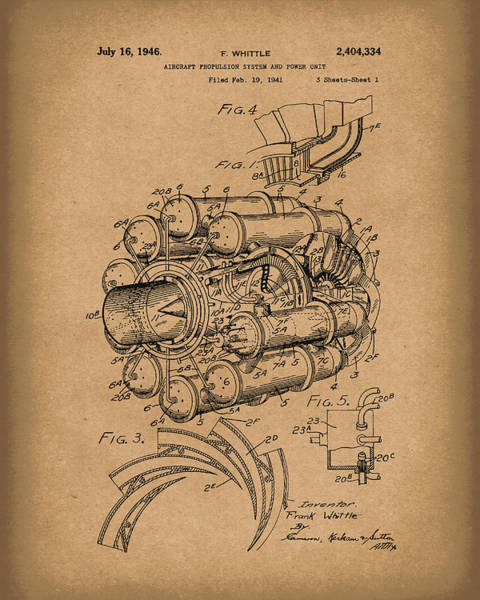 Drawing - Aircraft Propulsion 1946 Patent Art Brown by Prior Art Design