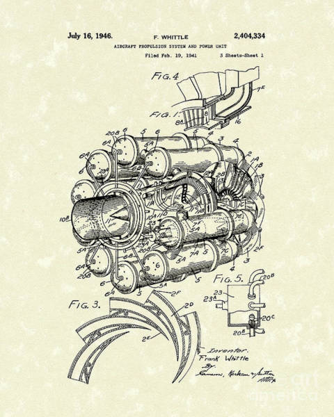 Drawing - Aircraft Propulsion 1946 Patent Art by Prior Art Design