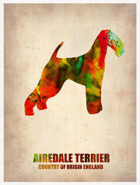 Terrier Painting - Airedale Terrier Poster by Naxart Studio