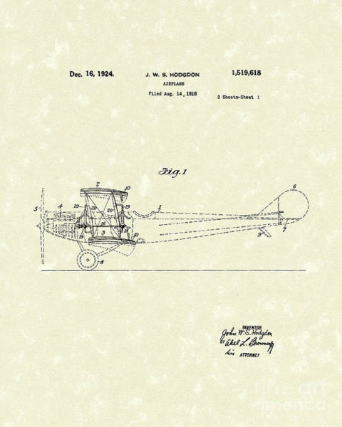 Wall Art - Drawing - Airplane 1924 Patent Art  by Prior Art Design